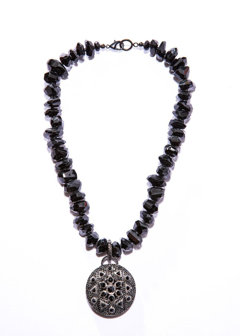Hand cut Faceted Black Spinel w/ Oxidized Sterling Silver & Black Spinel Pendant #9433-Necklaces-Gretchen Ventura