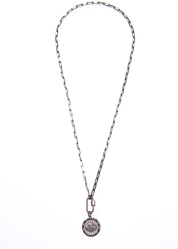 Rhodium Plated Sterling & Diamond Evil Eye Pendant w/ Carabiner & Link Chain #9438-Necklaces-Gretchen Ventura