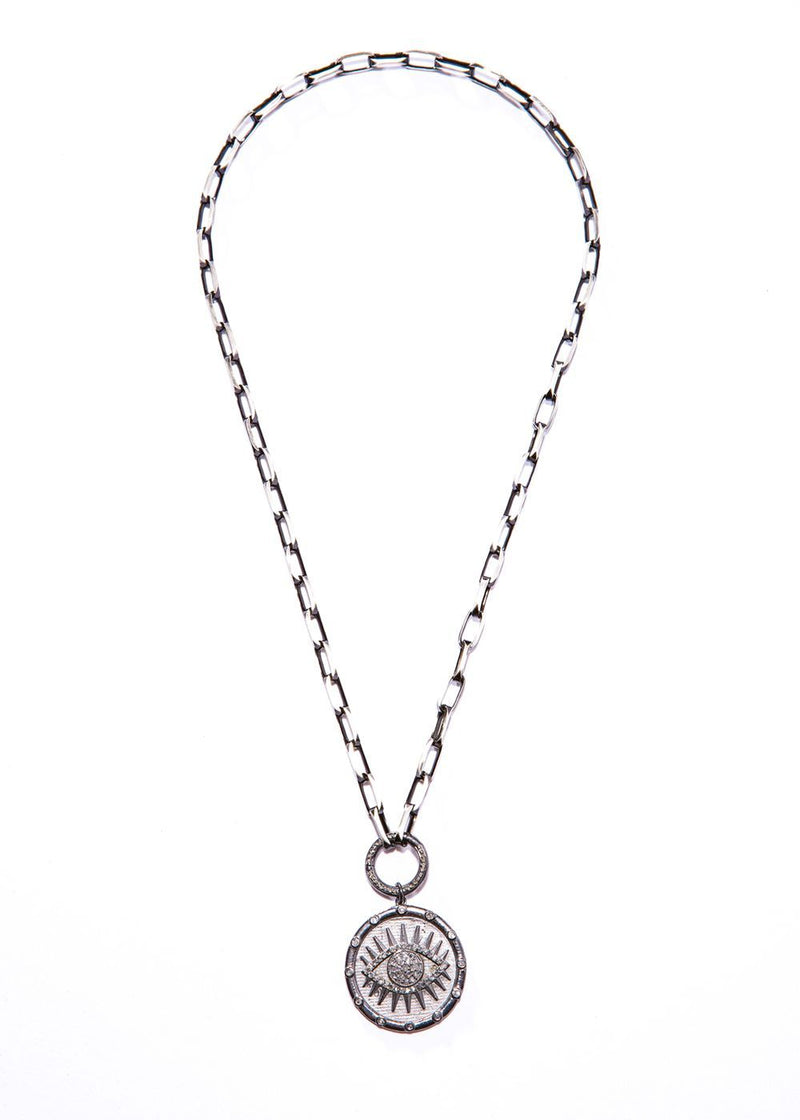Rhodium Plated Sterling & Diamond Evil Eye Pendant w/Rhodium Sterling Link Chain #9440-Necklaces-Gretchen Ventura