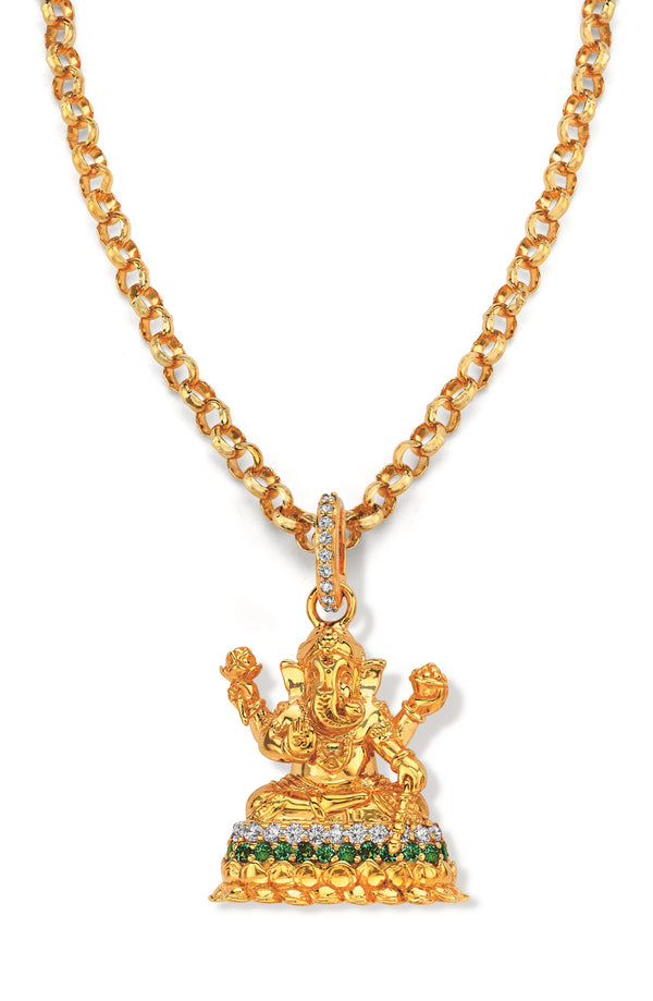 Ganesha - Pendant Set With Emeralds And Diamonds
