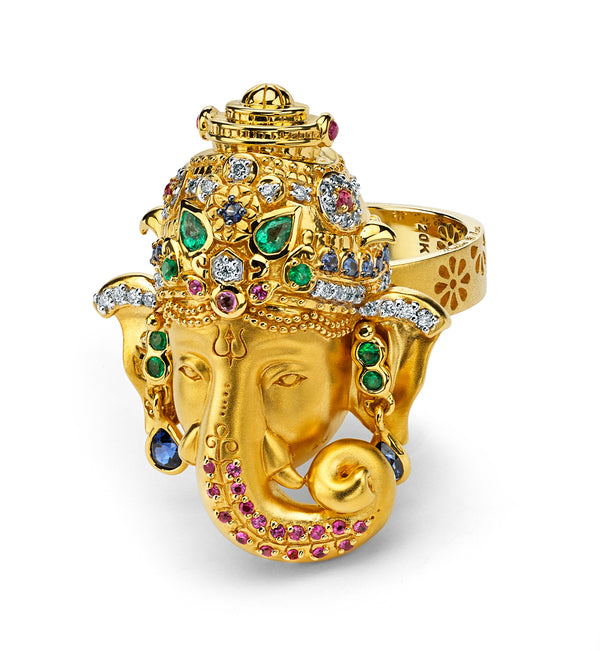 Ganesha -Diamond, Emerald, Blue And Pink Sapphire Ring