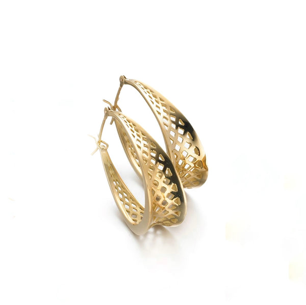 18K Yellow Gold Tapered Medium Oval Crownwork Hoop Earrings