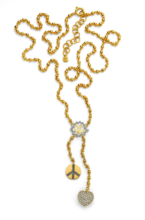 Peace And Love - Lotus Rosary With Diamonds
