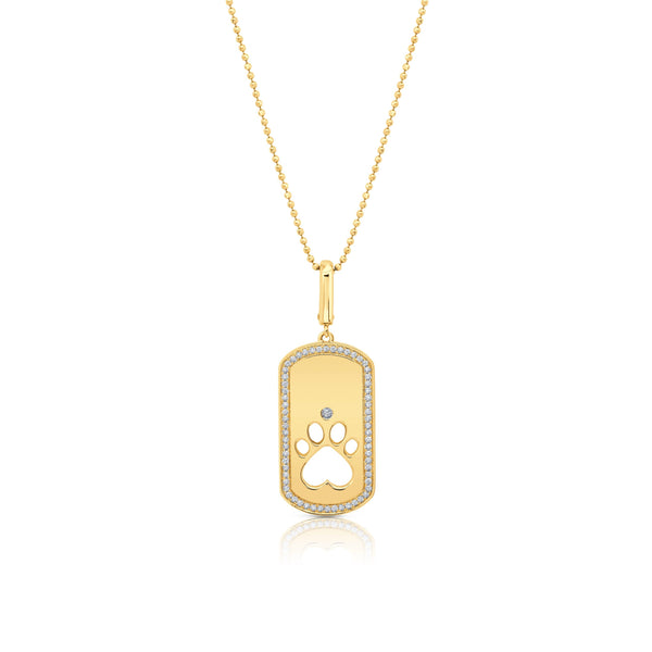 Dog Paw Cut Out Rectangle Pendant