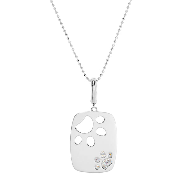 Dog Paws Rounded Rectangle Pendant