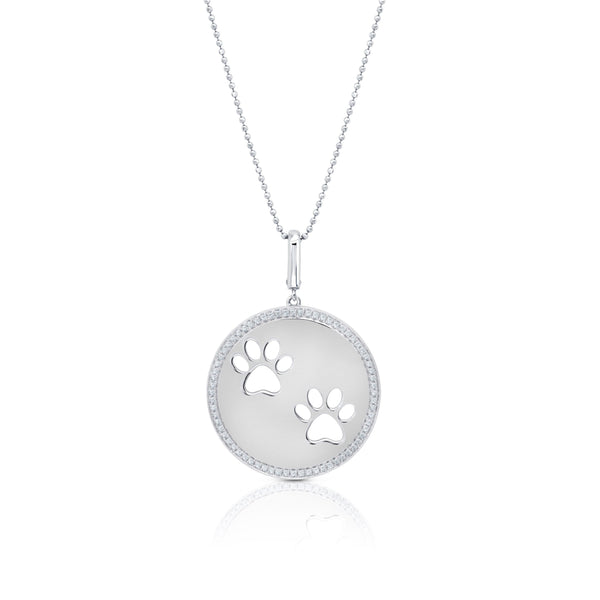 Dog Paw Circle Double Print Pendant