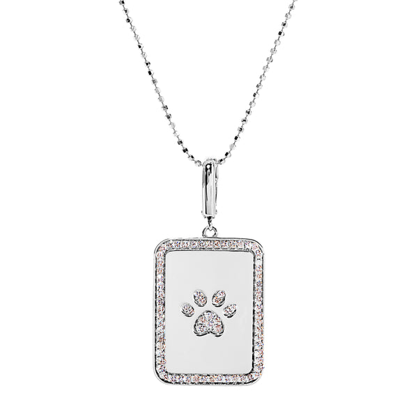 Dog Paw Rectangle Pendant