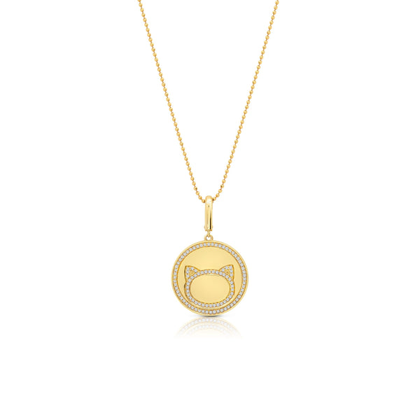 Cat Outline Circle Pendant