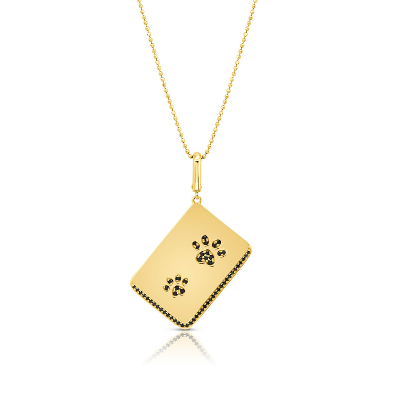 Diamond Dog Paw Rectangle Pendant