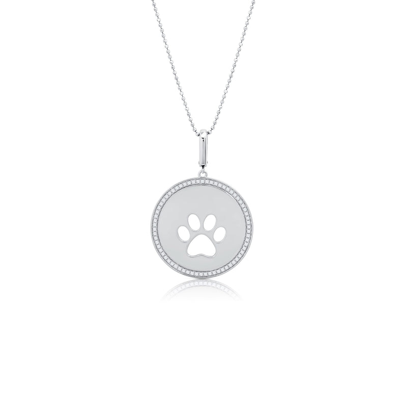 Dog Paw Circle Single Print Pendant