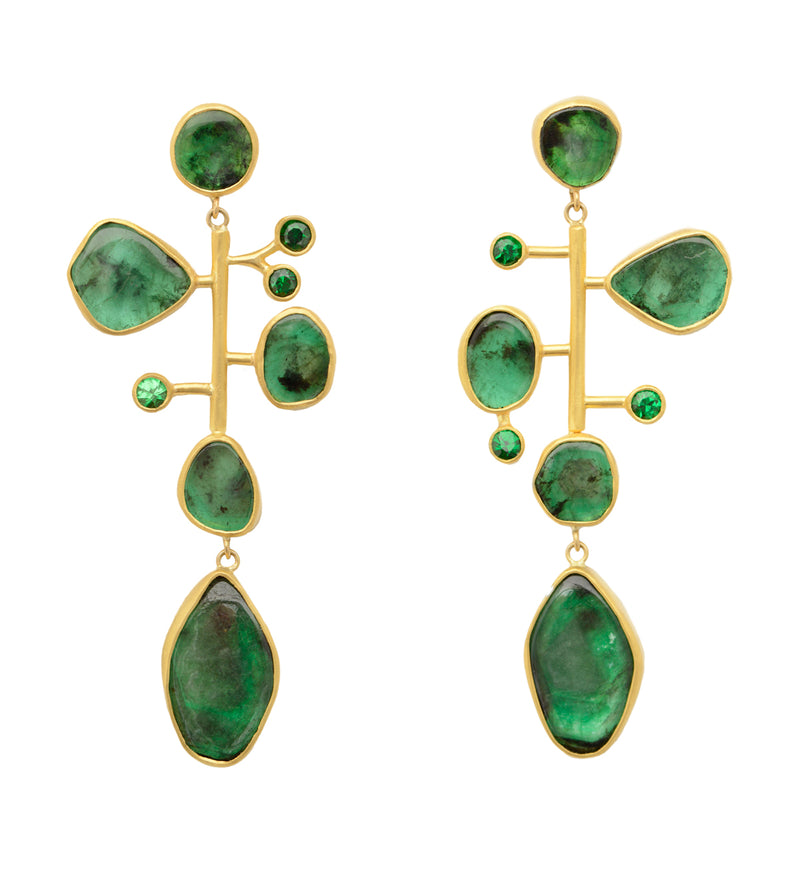 Emerald & Tsavorite Kinetic Earrings