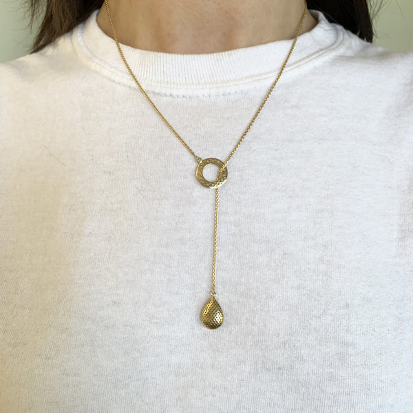 18K Yellow Gold Lariat Necklace with Crownwork Disc and Pear Shaped Drop
