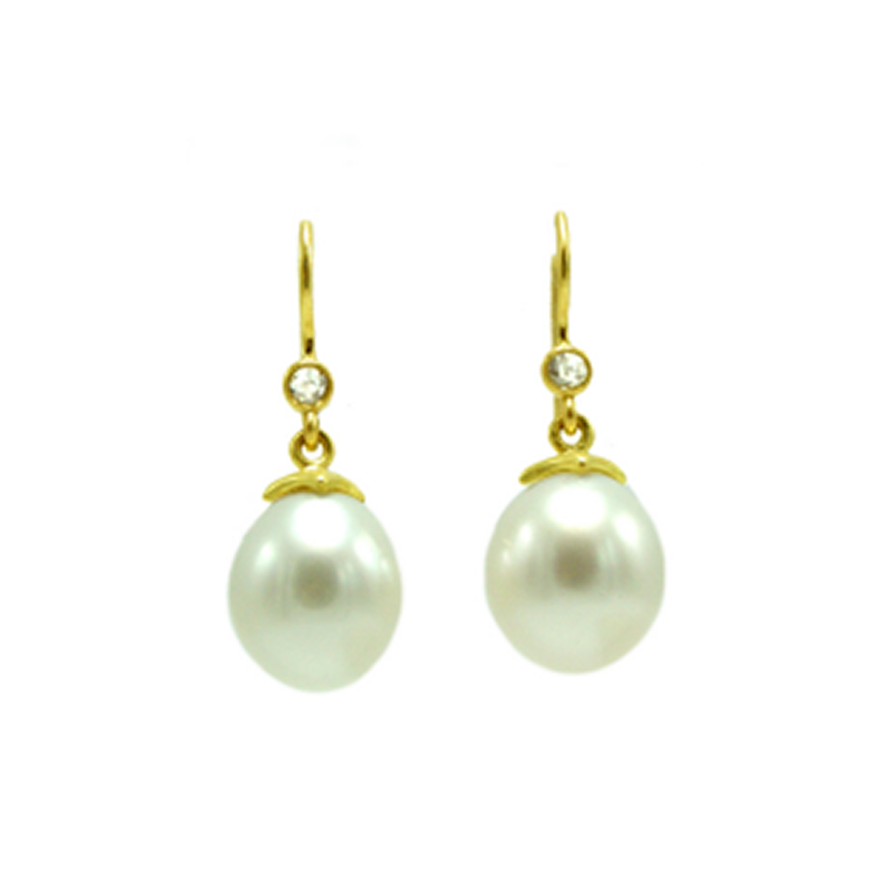 Bahari Earrings - Diamond and South Sea Pearls