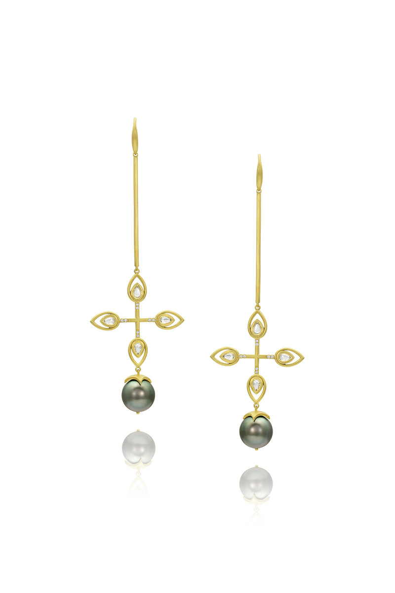 Bahari Earrings - Rose Cut Diamond & Tahitian Pearl Quatrefoil