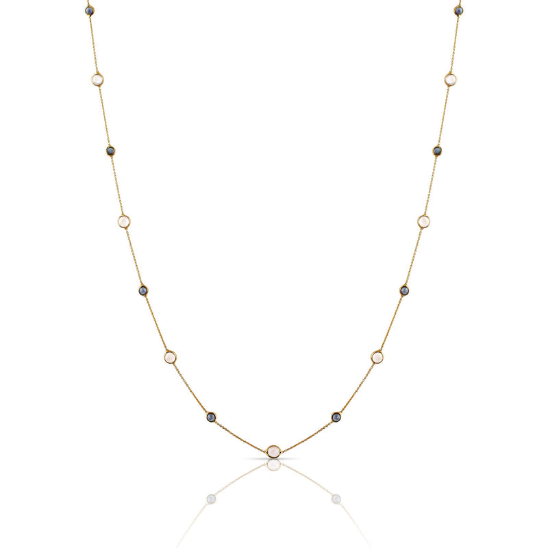 Blue Sapphire & Rainbow Moonstone Oval Fac Short Necklace in 18k Yellow Gold