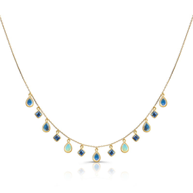 Blue Sapphire & Rainbow Moonstone Necklace in 18k Yellow Gold