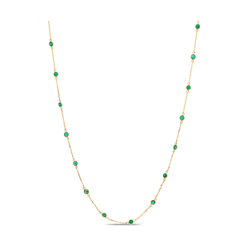 Gemstone Station Necklace in 18K Yellow Gold