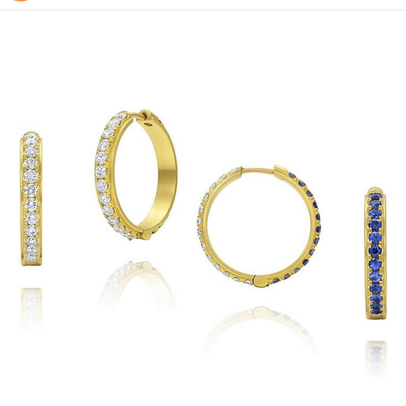 Amani Earrings - Reversible Diamond and Sapphire Hoops