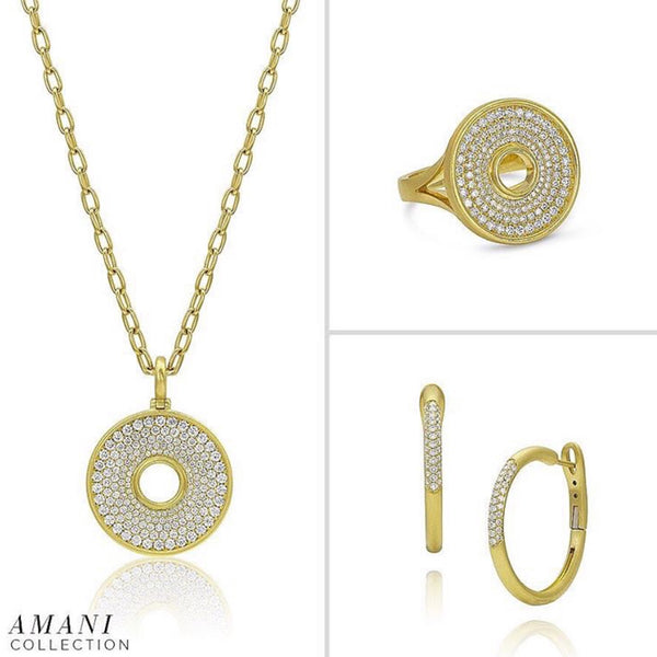 Amani Ring - Diamond Pavé Disk
