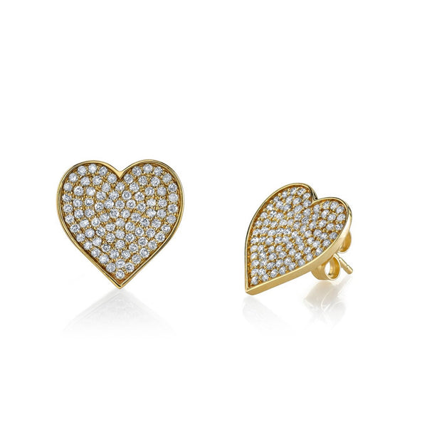 Heart Studs - Large Yellow Gold & Diamond