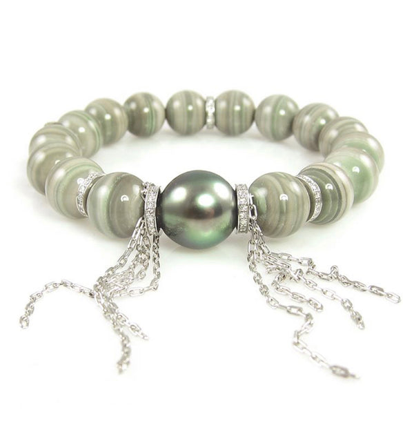 Saturn Chalcedony and Tahitian Pearl Stretch Bracelet