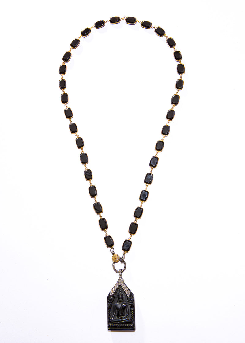 Black Obsidian Carved Buddha Necklace