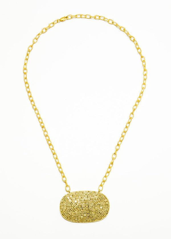 Large Pave Diamond Plate in Gold Plate Over Sterling Chain #9400-Necklaces-Gretchen Ventura