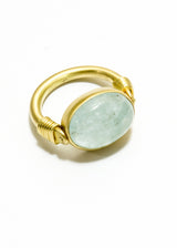 Aquamarine Cabachon in Matte 14K Gold flip ring #5025-Rings-Gretchen Ventura