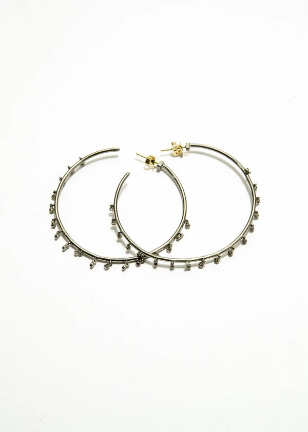 Sterling Silver Diamond Drop Hoop Earrings