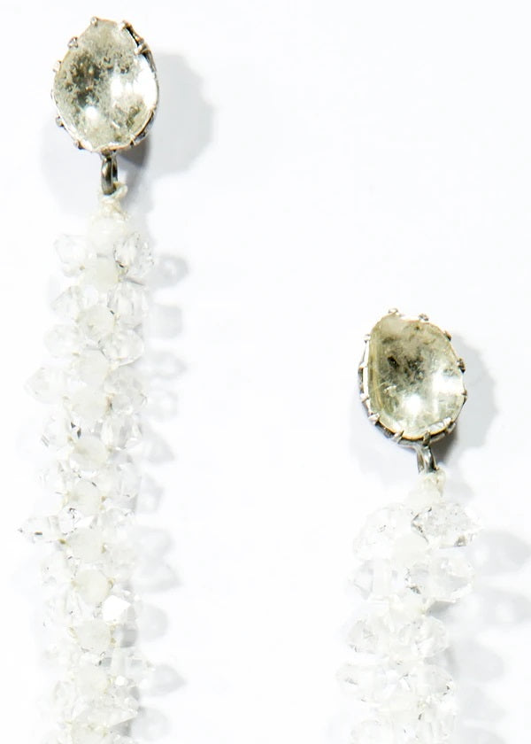 Faceted Herkimer Diamond and Moonstone Macramé Earrings