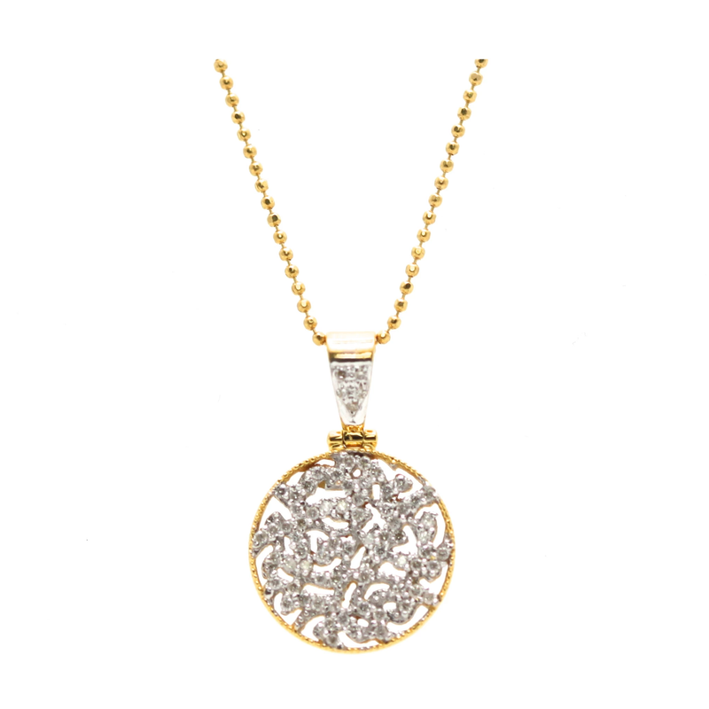 Siganture Diamond 15mm Logo Pendant in 18k Yellow Gold