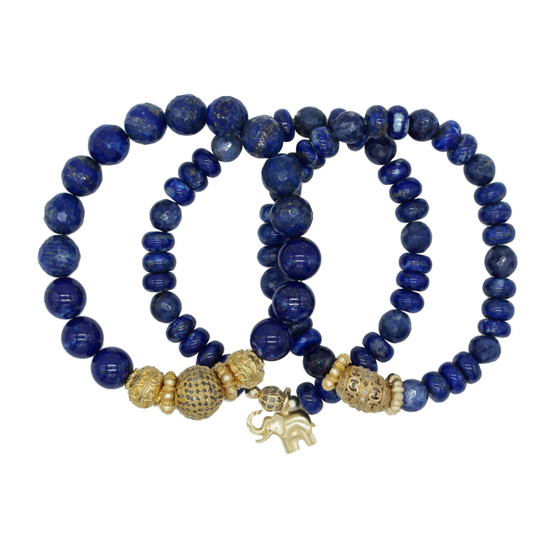 Lapis Bead Stretch Bracelet with Gold Plated Diamond Bead