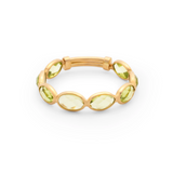 Gemstone Oval Stackable Ring Band In 18K Yellow Gold