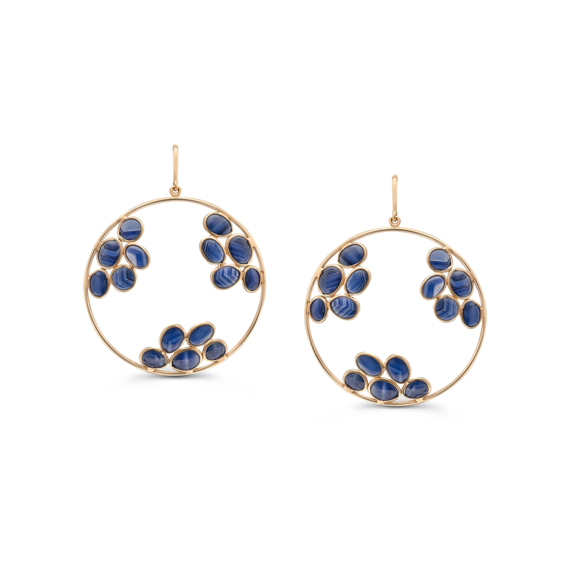 Gemstone Round Dangle Earring in 18k Yellow Gold