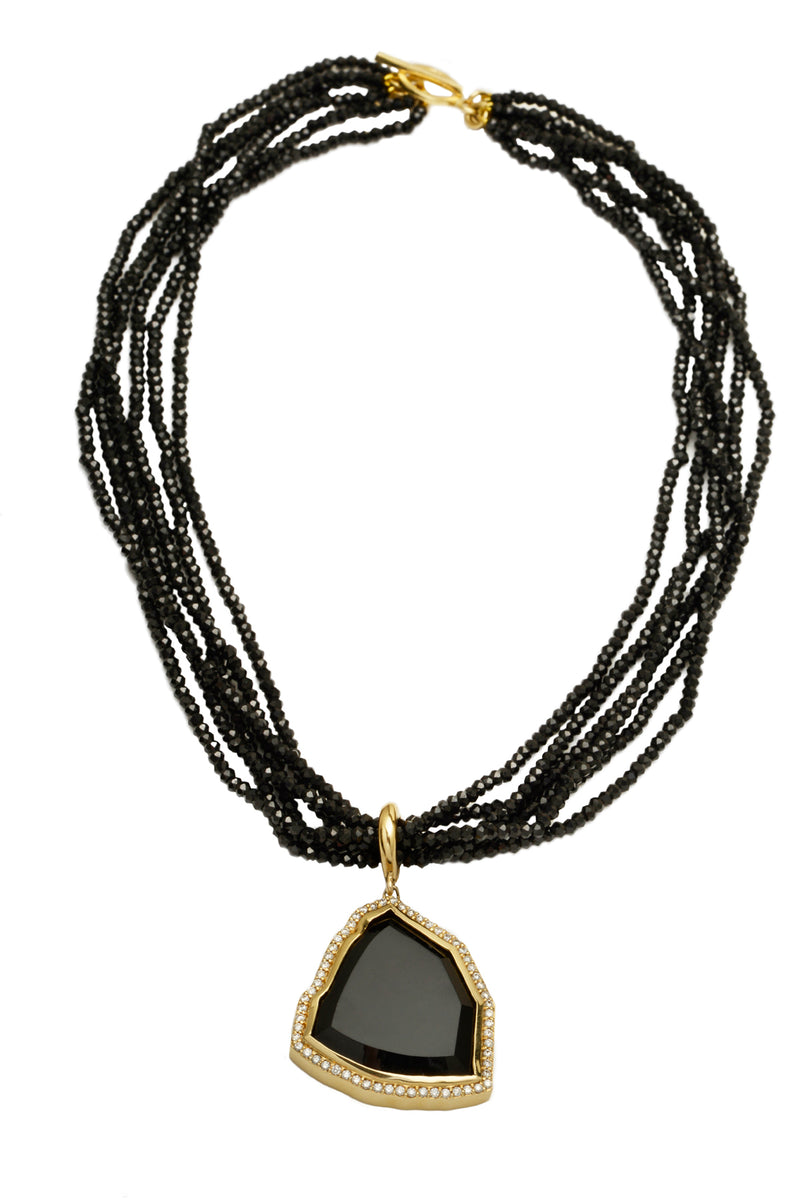 Black Tourmaline Slice & Diamond Detachable Pendant on Black Spinel Strands