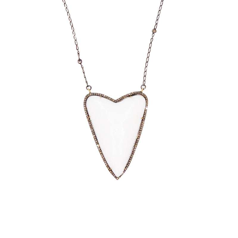Bone Sharks Tooth and Diamond Necklace