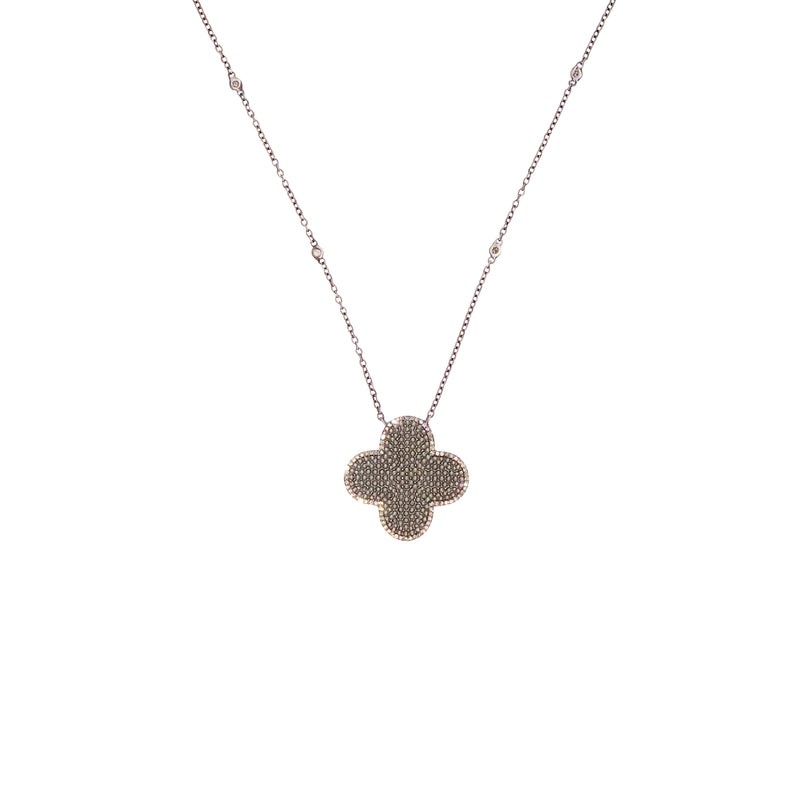 Sterling Silver Diamond Clover Necklace