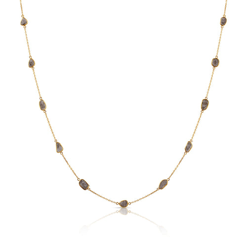 Organic White Diamonds Slice Necklace In 18K Gold