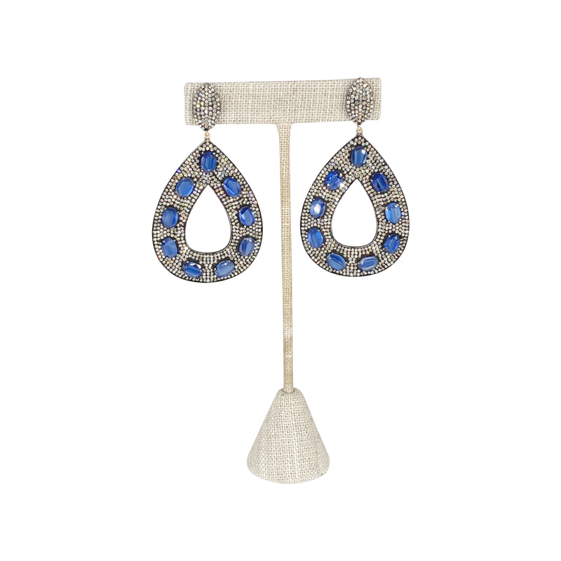 Kyanite and Diamond Doorknocker Earrings