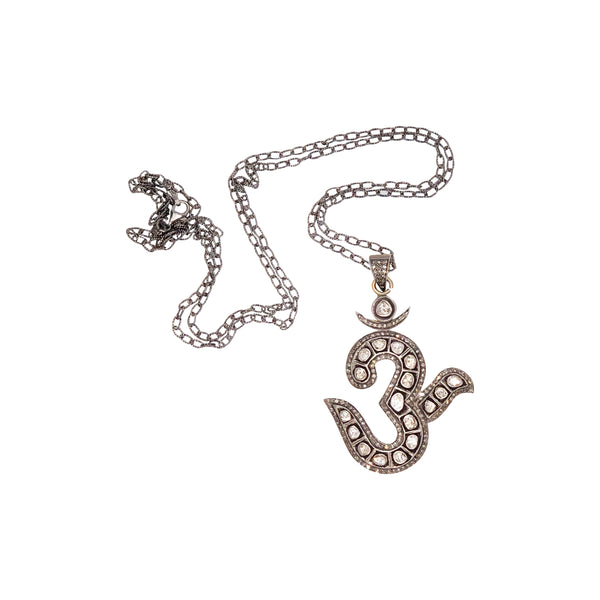 Sterling Silver Rose Cut Diamond Om Pendant with Chain