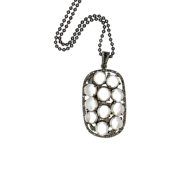 Sterling Silver Pearl and Diamond Pendant with Chain