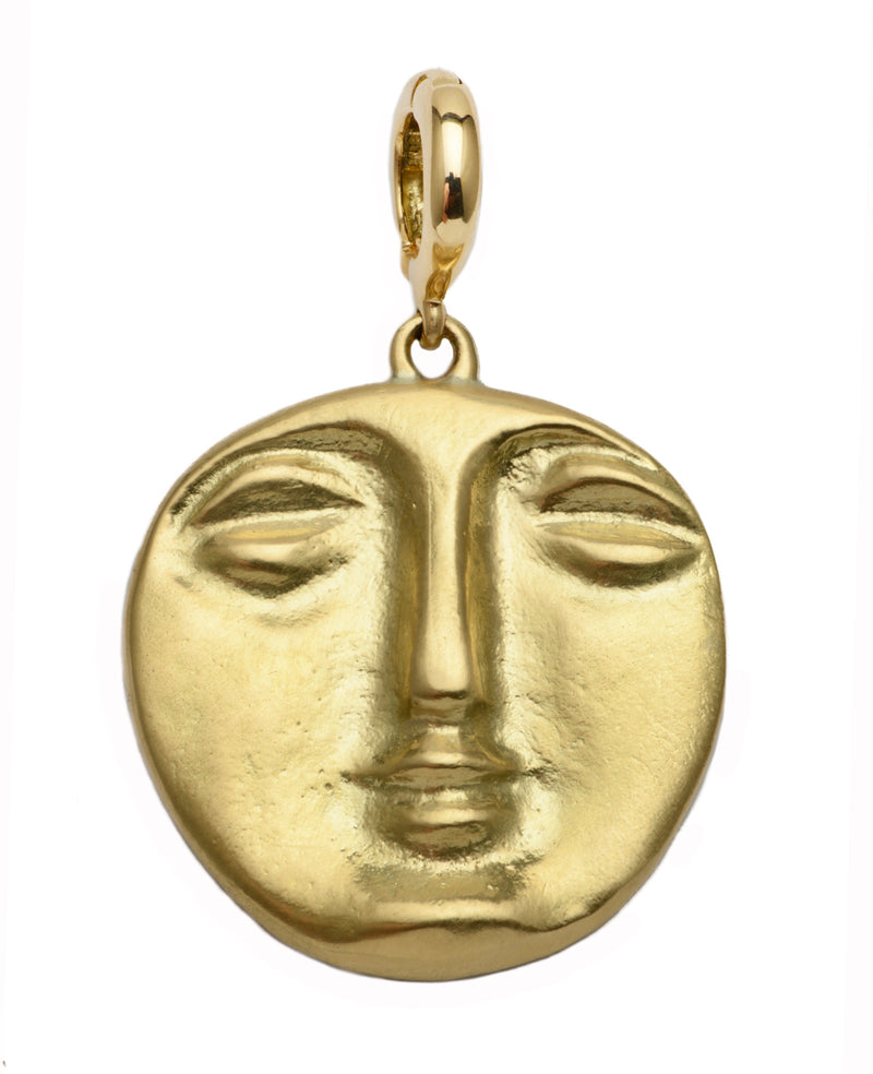 18K Yellow Gold Harriet Face Pendant