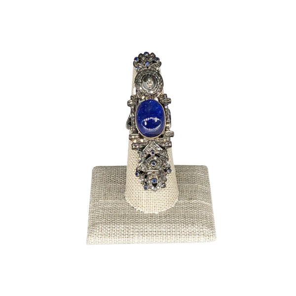 Sterling Silver/ 18K Yellow Gold Tanzanite Ring. Size 8