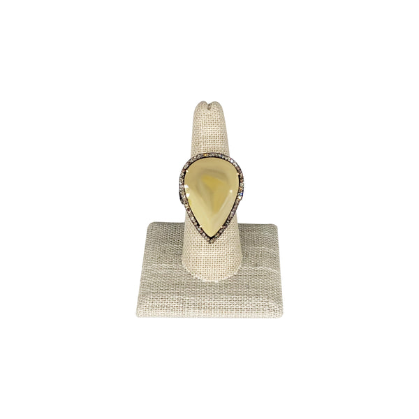Sterling Silver/ 18K Yellow Gold Rutilated Quartz Ring. Size 7.5