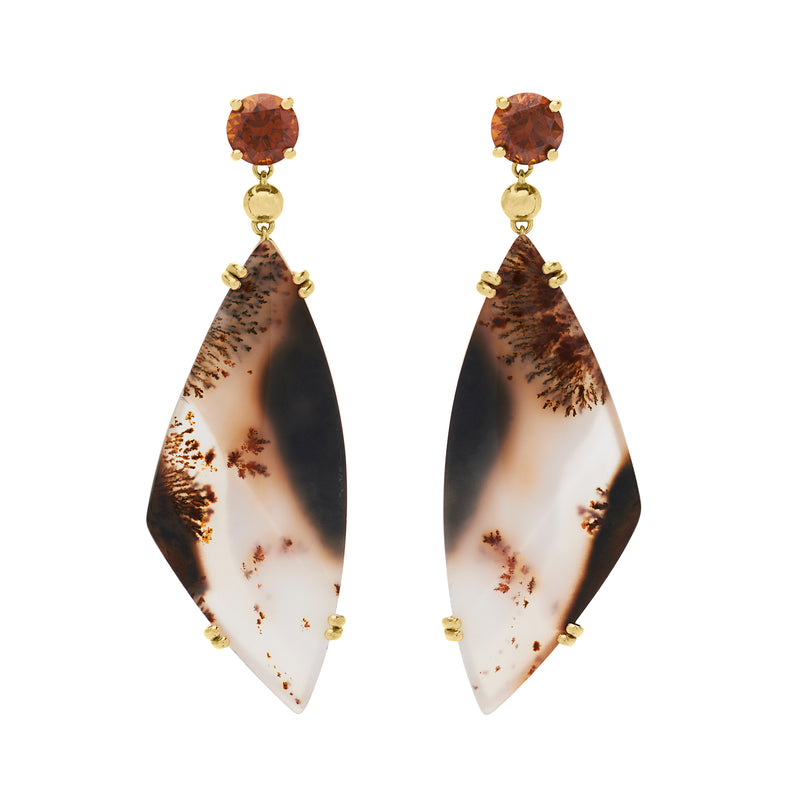 DENDRITIC AGATE AND ANDRADITE GARNET DROP EARRINGS - Drop Size 2""