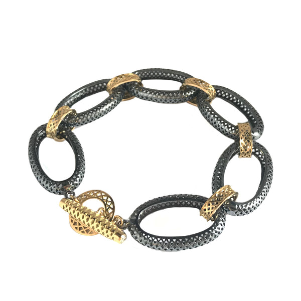Large Oval Oxidized Silver and 18K Yellow Gold Crownwork Link Bracelet