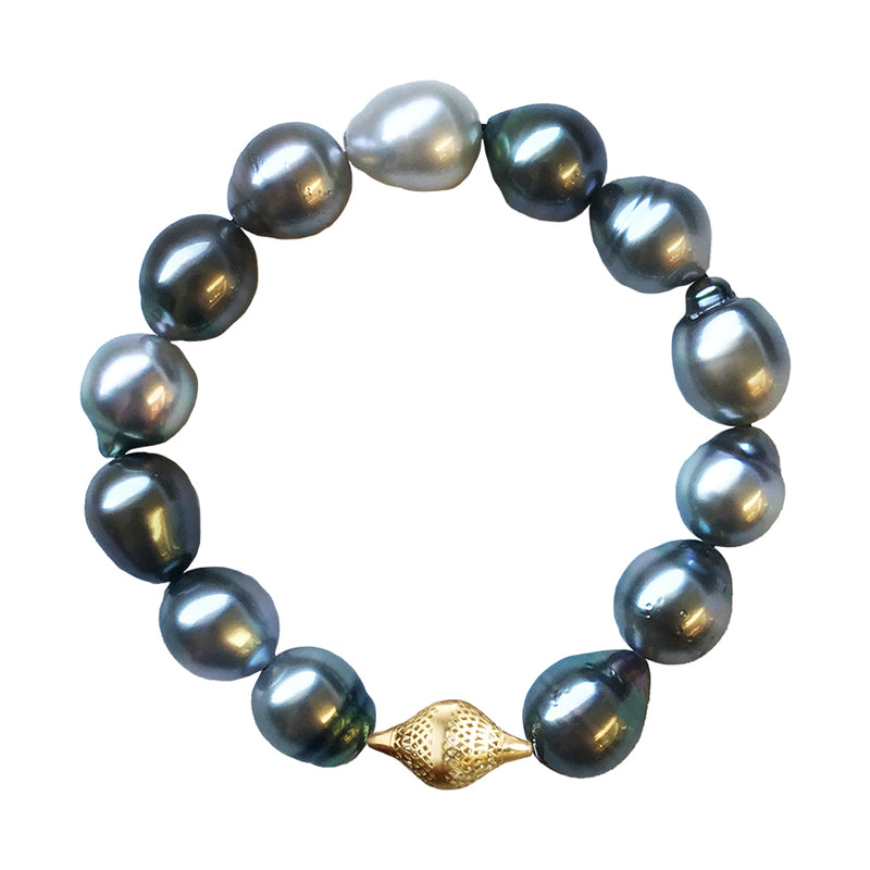 Tahitian Pearl Stretch Bracelet with 18K Yellow Gold Crownwork Finial