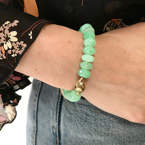 Chrysoprase Stretch Bracelet with 18K Yellow Gold Crownwork Finial Bead