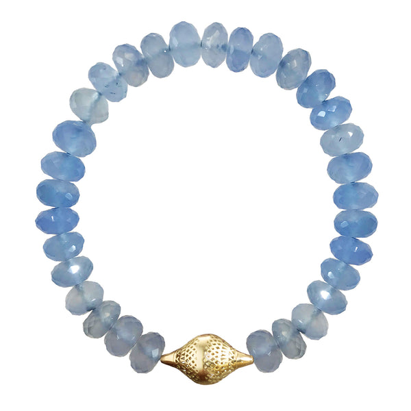 Chalcedony Stretch Bracelet with 18K Yellow Gold Crownwork Finial