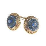 18K Yellow Gold Crownwork Sapphire Button Stud Earrings